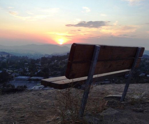 Bench at the top of Tarantula Hill provides a nice spot for viewing the sunset.