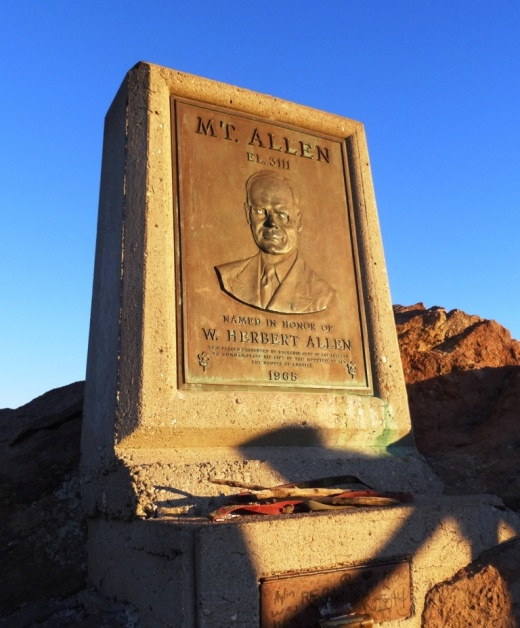 Plaque dedicated to W. Herbert Allen, along with logbook, is at the peak of the mountain