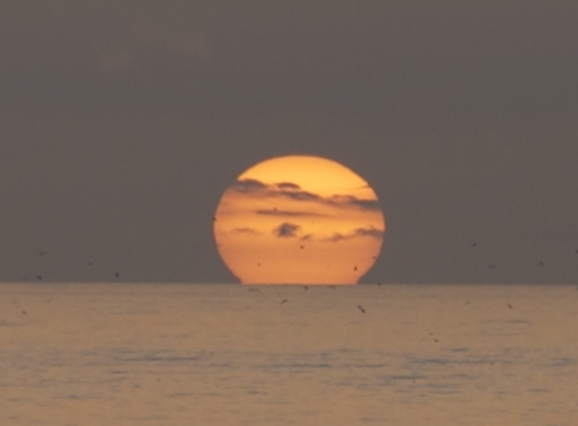 jupiter like sun over the pacific ocean at sunset tonight in malibu