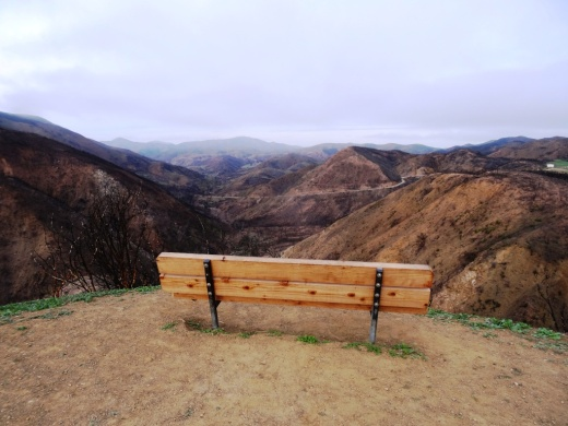 The popular bench at Upper Sycamore Canyon Overlook. Photo taken April 4, 2014, approximately 11 months after the devasting Springs Fire of 2013.