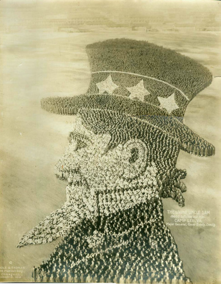 The Living Uncle Sam: 19,000 Officers and Men, Camp Lee, VA 1919