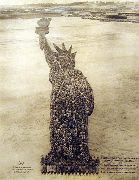 Human Statue of Liberty: 18,000 Officers and Men, Camp Dodge, IA 1918