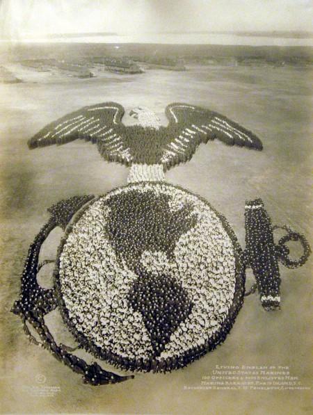 Living Emblem of U.S. Marines: 9,100 Officers and Men, Paris Island, SC 1919