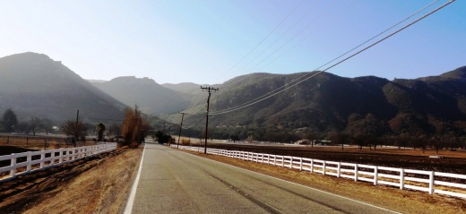 Two lane Potrero Road in Hidden Valley
