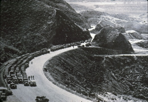 Grand opening of the newly realigned Conejo Grade on May 1, 1937 (Photo Courtesy of Pleasant Valley Historical Society)