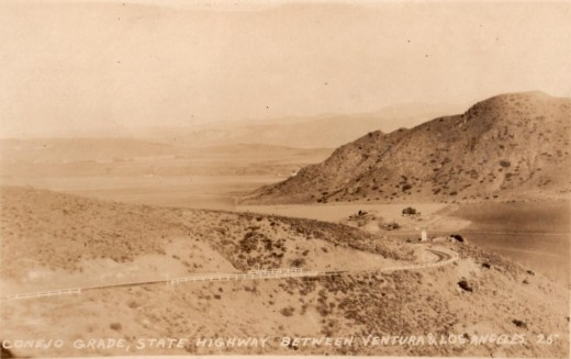 Another view of the Conejo Grade before it was realigned in 1937 (Photo Courtesy of Pleasant Valley Historical Society)