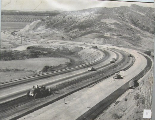 In the 1950s and 1960s, Caltrans further widened and improved Highway 101 over the Conejo Grade (Photo Courtesy of Pleasant Valley Historical Society)
