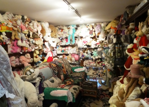 This very cozy, furry den is home to more stuffed bunnies than I've ever seen.