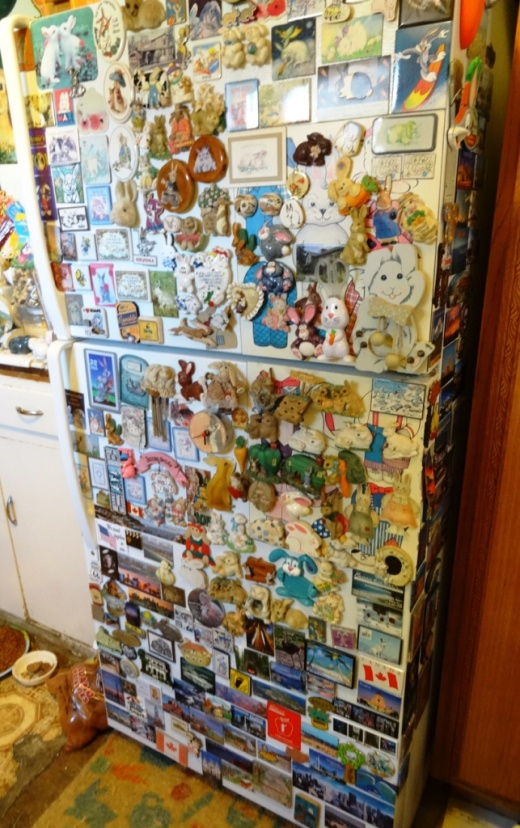 Could be a bit of challenge finding a spare space on this fridge at The Bunny Museum.