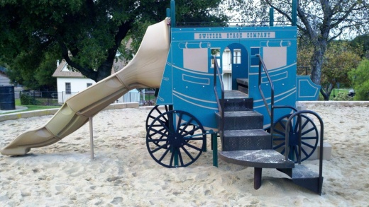 Stagecoach themed play area at Stagecoach Inn Park adjacent to the Museum.