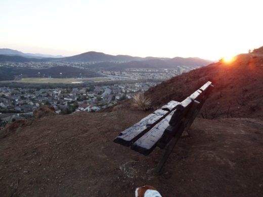Bench on the El Encanto Trail in the Dos Vientos section of Newbury Park. Panaromic view towards Boney Mountain while catching the sunset.