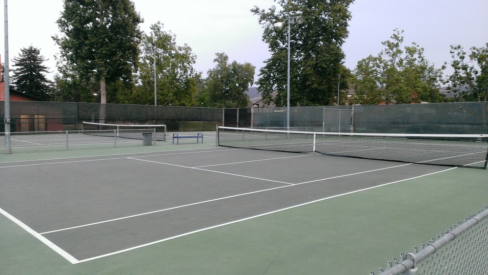 Tennis courts at Borchard Park in Newbury Park are nicely maintained.