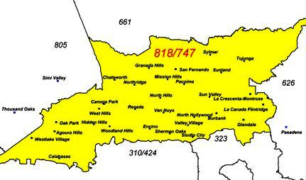 Time to Start Dialing More Numbers! The 818/747 Area Code Overlay is  Area Code Map on