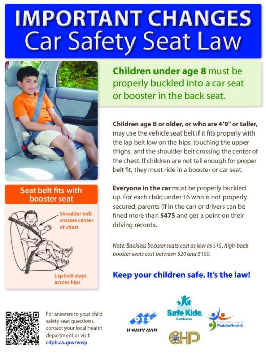 New Car Seat Law  Ca