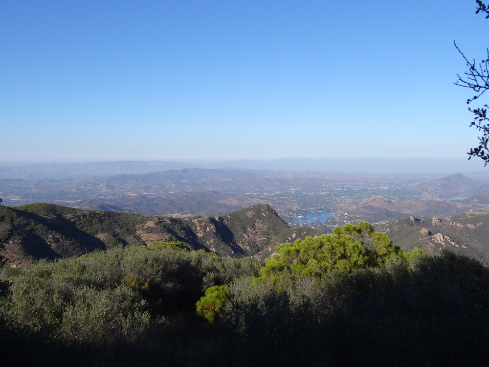 Views from Sandstone Peak trail towards Lake Sherwood.