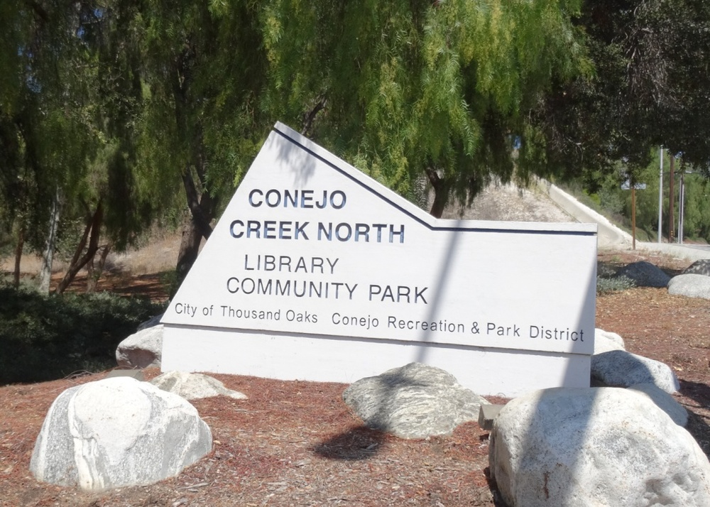 The main Thousand Oaks ( Grant R. Brimhall) Library is located next to the beautiful Conejo Creek North Park