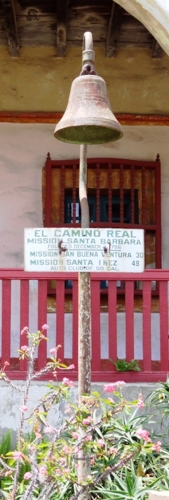Older El Camino Real bell marker on display at the Old Mission Santa Barbara.