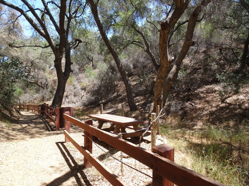 one of three picnic benches along the interpretive trail