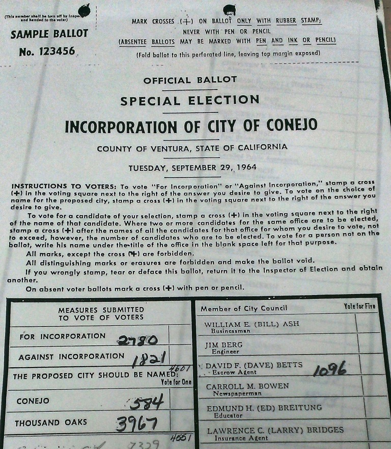 Portion of Sample Ballot from the September 29, 1964 Special Election for the Incorporation of City of Conejo (or Thousand Oaks, as the case were to be) (Courtesy Thousand Oaks Library Special Collections)