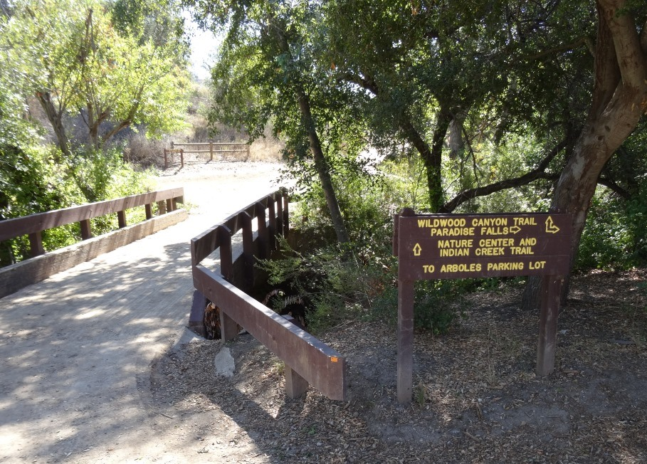 Bridge over creek that connects wildwood canyon trail to meadows center, which has restrooms and drinking fountain
