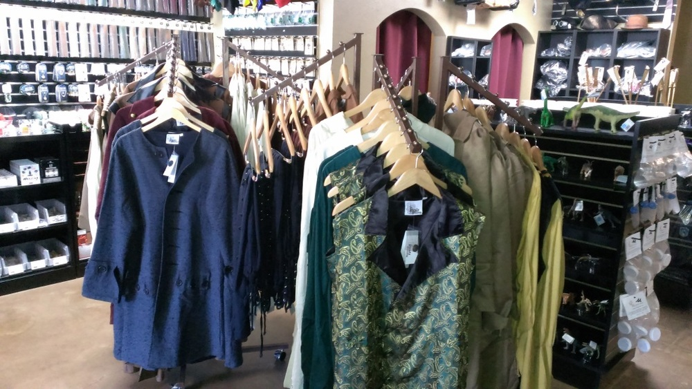 Renaissance Fair and Steampunk garb available for purchase at Explorers' Emporium