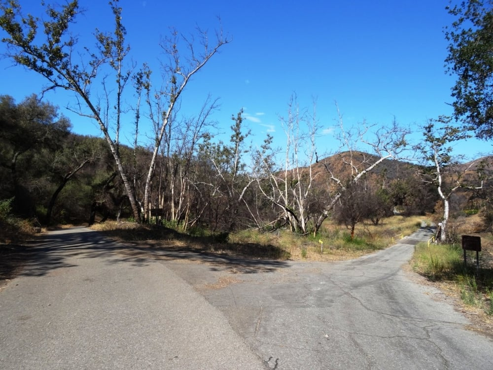 Juncture of Big Sycamore Canyon Road (left) and Ranch Center Road (right).