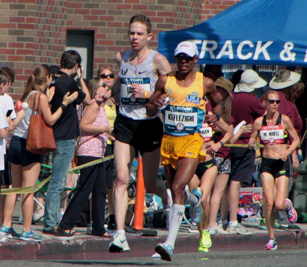 Keflezighi and Rupp in the lead  (Photo Credit: Carl Pytlinski)