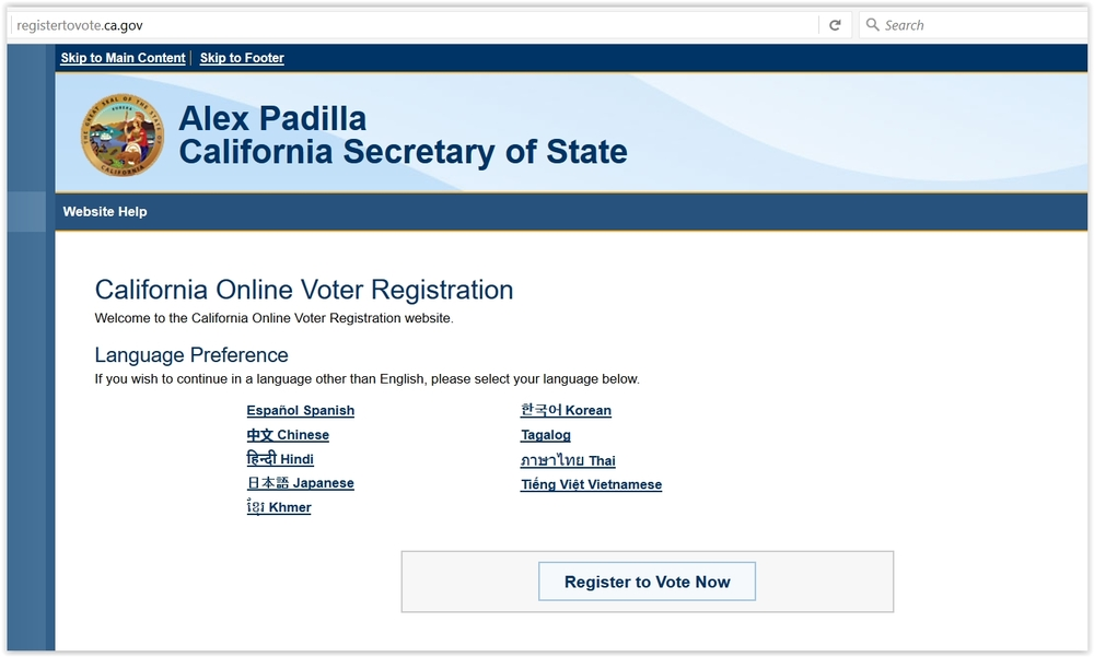 California Online Voter Registration - Home Page