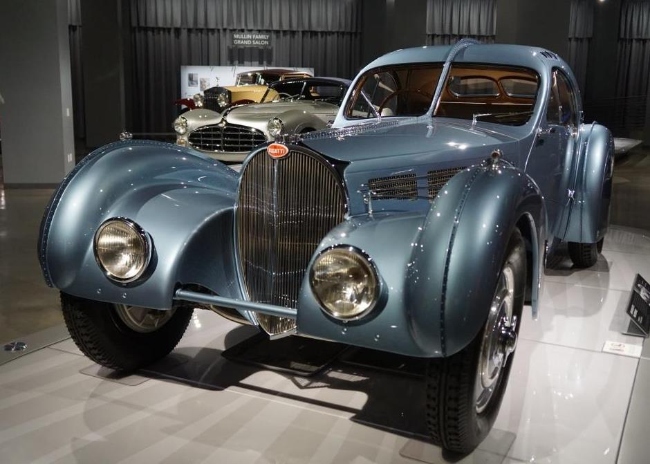 The Mullin Collection on display includes the $30-40 million 1936 Bugatti Type 57SC Atlantic.
