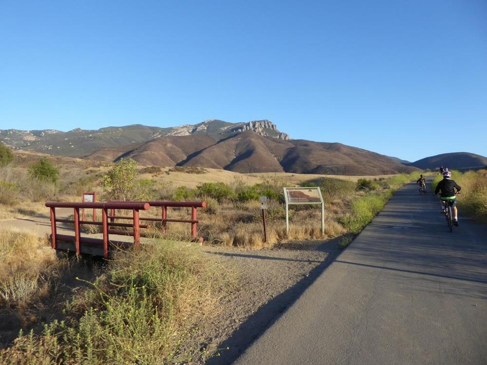 From there, take the paved road, called the Sycamore Canyon Fire Road, towards the ocean.