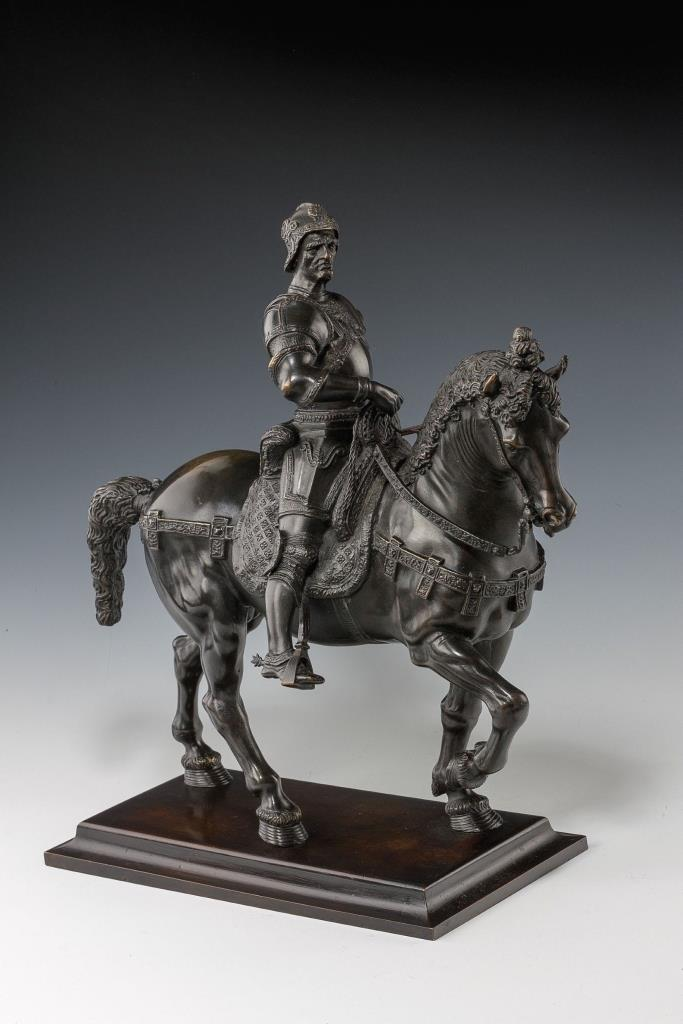 "20th-century reduction of ""Equestrian Statue of Bartolomeo Colleoni,"" which was by Andrea del Verrocchio. The bronze reduction is 19 x 16 x 8 inches. Courtesy of Richard Gardner Antiques, Chichester, England."