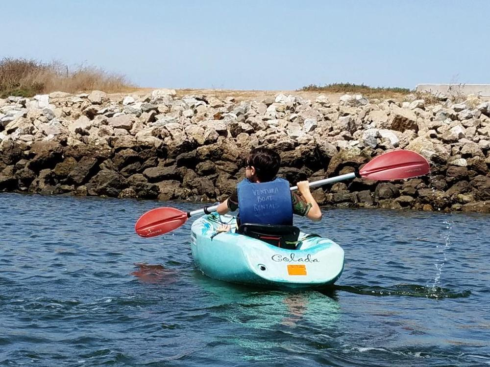 We enjoy exploring the Ventura Harbor, thanks to Ventura Boat Rentals. Lots of small crabs hang out in these rocks.