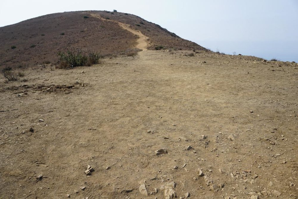 The initial Mugu Peak Trail section is quite steep, then you plateau, then the remainder is more moderate, seen above.