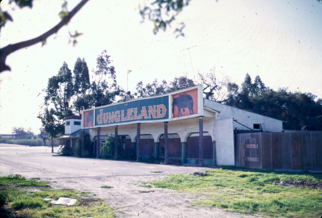 Jungleland sign after the theme park closed in 1969. (Image courtesy of Conejo Through the Lens, Thousand Oaks Library.)