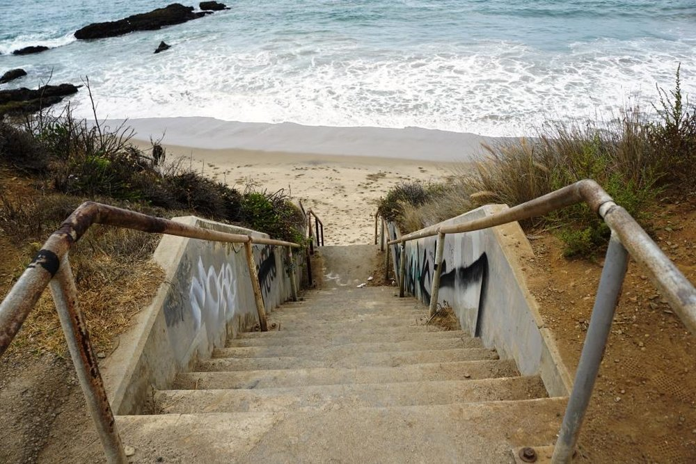 The not particularly well taken care of steps to the beach at (approximately) 10302 PCH.