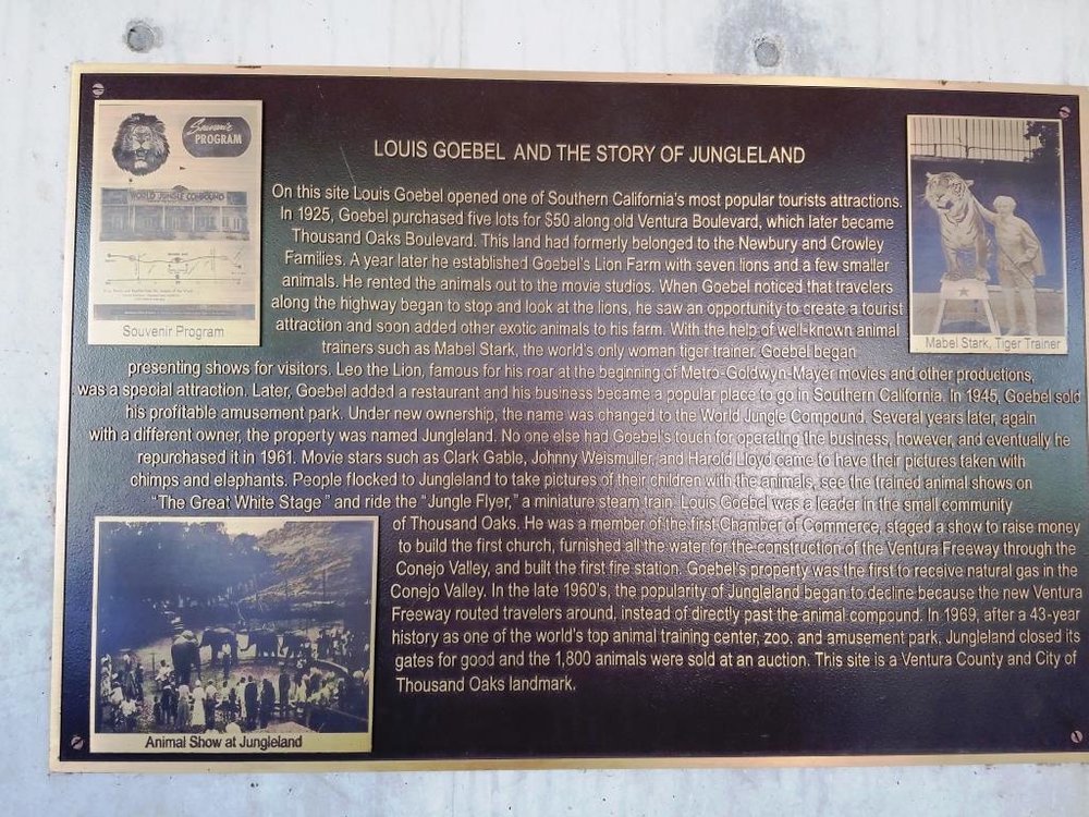 Louis Goebel and Jungleland plaque outside the Civic Arts Plaza.