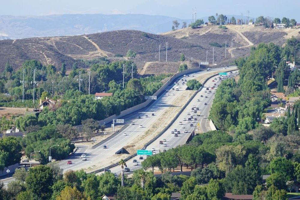 Moorpark Freeway section of SR 23 taken from Marview Trail in Thousand Oaks.