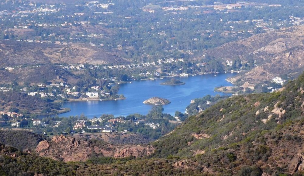 Lake Sherwood as seen from the  Sandstone Peak trail  in the Santa Monica Mountains.