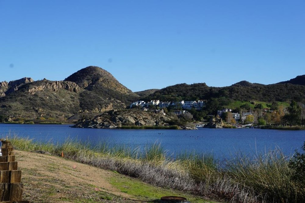 A view of Lake Sherwood from the north off of Lake Sherwood Drive.
