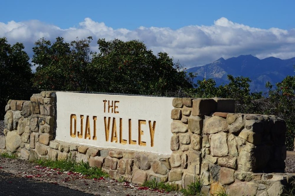 The Ojai Valley sign on California State Route 150 at 6462 Santa Paula Ojai Road.