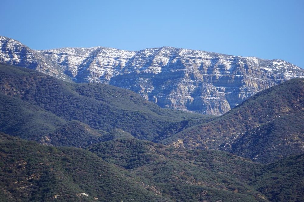 This photo was taken in January 2017 after storms dusted snow on the Topa Topa Mountains. We can see this snow from the Conejo Valley but it is fun to see it closer up from Ojai.