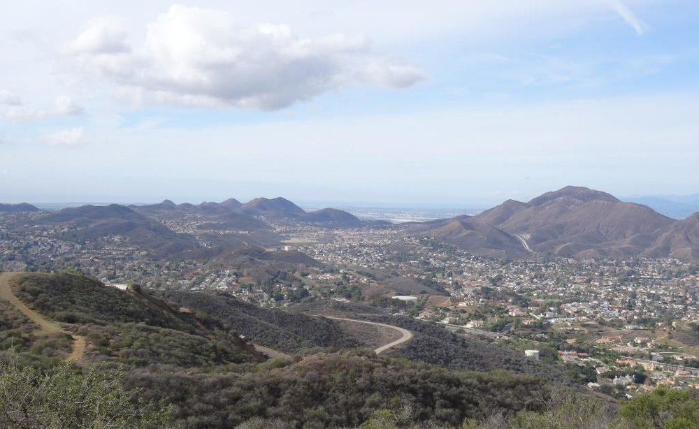 A view towards Newbury Park from the Rosewood Trail / Angel Vista Peak.