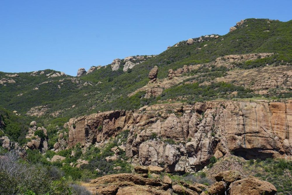 Echo Cliffs and the well known Balance Rock as you head west on the Mishe Mokwa trail.
