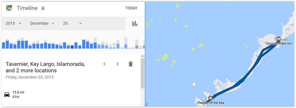 Searching Location History under Other google Activity reminded me that I was in the Florida Keys on Christmas Day 2015. Google My Activity is a great memory jogger!