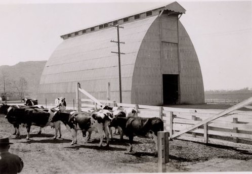 The hay barn at Camarillo State Hospital in the 1940s (CSUCI John Spoor Broome Library historic photo collection)
