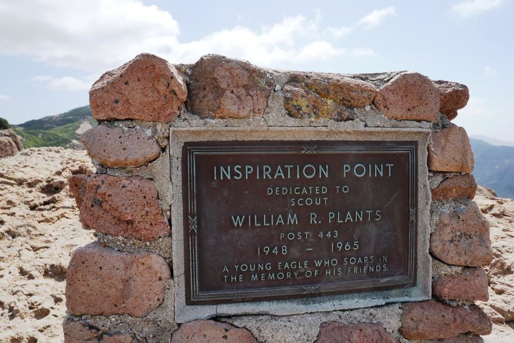 Inspiration Point dedication sign to an Eagle Scout who lost his life much too early.