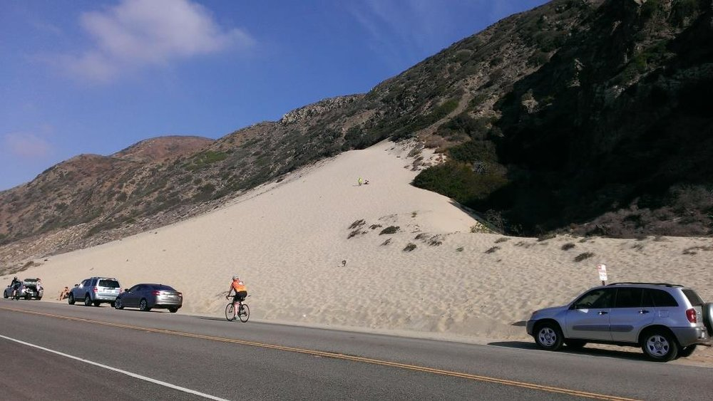 The cool, massive sand dune across from Thornhill Broome Beach (be careful crossing PCH!).