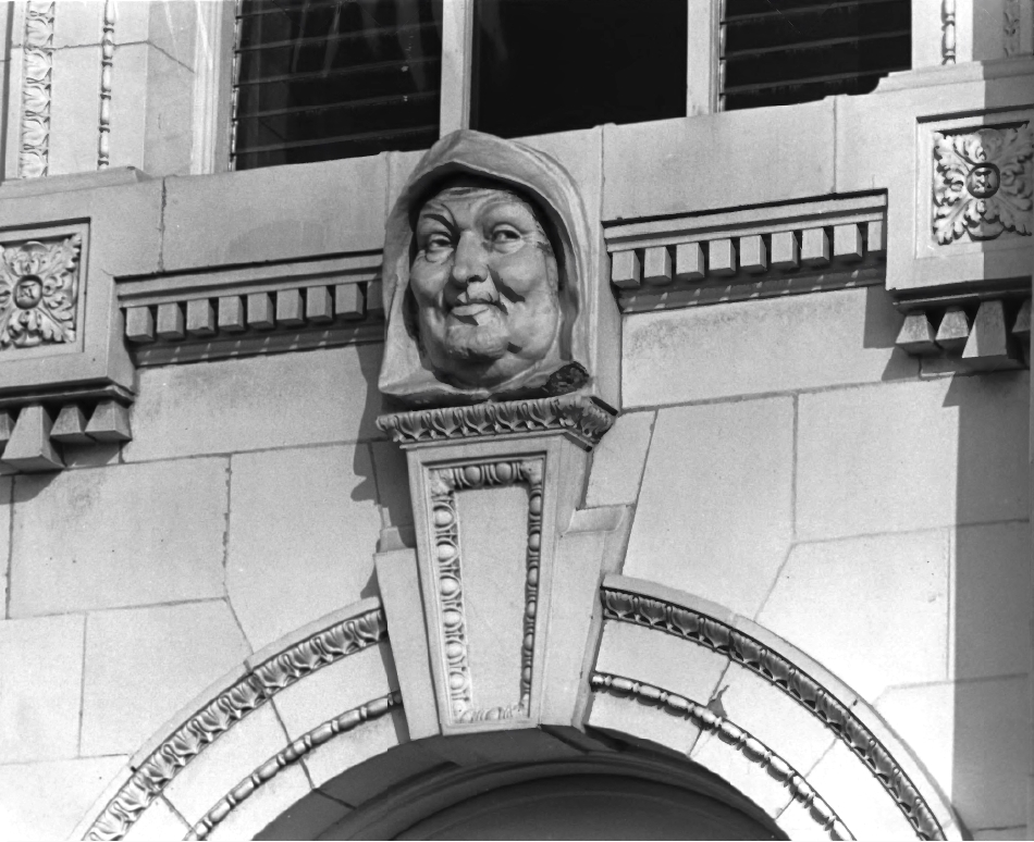 One of the 24 friars' faces on the building taken February 1971 (Photo Credit: City of Ventura).