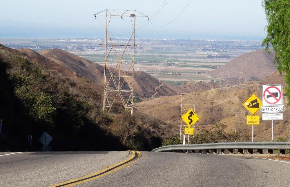 Top of the Potrero Grade before the descent towards Camarillo.