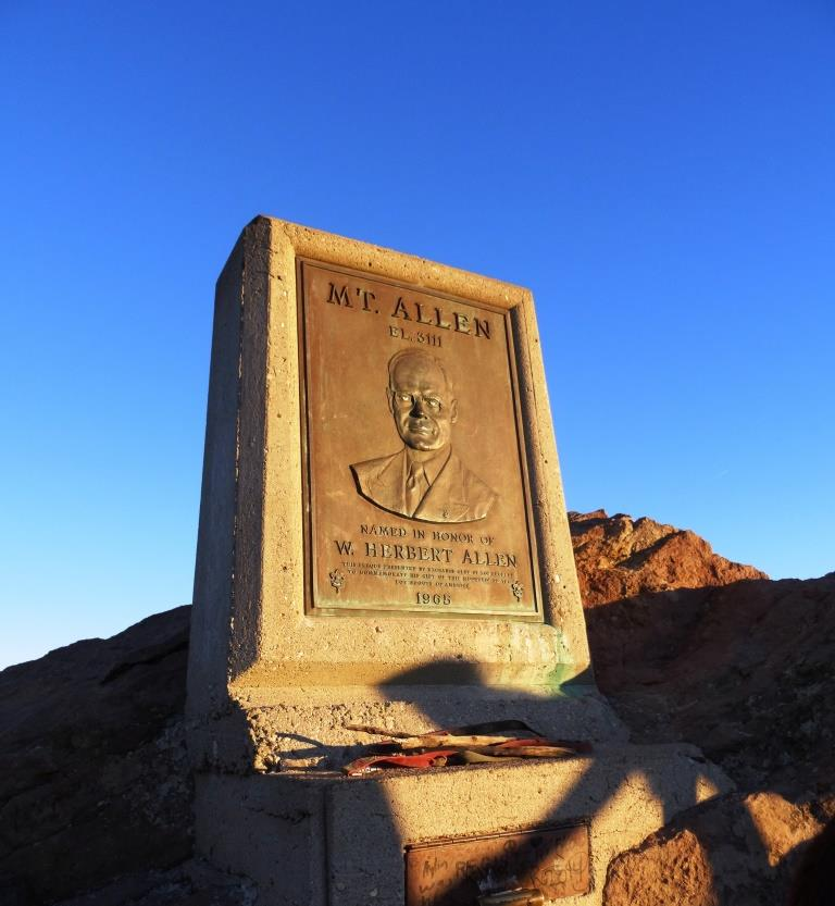 "The unofficial name bestowed on Sandstone Peak by the Boy Scouts is ""Mt Allen,"" named in honor of W. Herbert Allen to commemorate his gift of this mountain to the Boys Scouts of America in 1965."